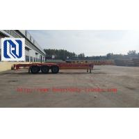 Blue 50 Ton Low Bed Trailer Two Single , 2 Axles dumper Semi Trailer Truck Manufactures