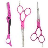 China Convex-edge Blade Pink Teflon Coating  Stainless Steel Left Handed Hair Cutting Scissors on sale