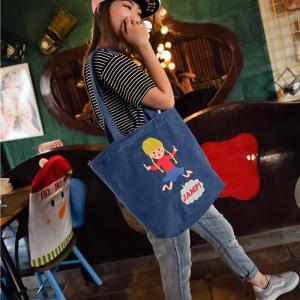 China Playful denim shoulder bag printing canvas bag large capacity Meng Mei casual female on sale