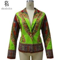 OEM Service Dashiki African Print Tops Jackets For Spring / Autumn Green Color Manufactures