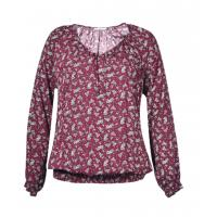 China Polyester Womens Fashion Blouses Full Sleeve Length With Elastic Hem Daily Wear Tops on sale