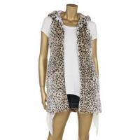Leopard Printing Fashionable Winter Coats Faux Fur Full Lining Sleeveless Hooded Jacket Manufactures