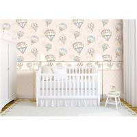 Heat Insulation Kids Bedroom Wallpaper For Wall Decoration , Hot Air Balloon Pattern Manufactures