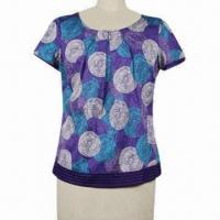 Cotton sateen giant circles print shell top Manufactures