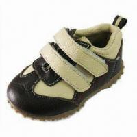 Boy's Shoes with Brown/Beige Scrap Leather Upper and TPR Outsole, Measures 125 to 145mm Manufactures