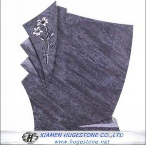 China Regular G602 Flower Carved Granite tombstone on sale