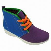 Canvas Shoes with Colorful Canvas, Upper and PU Injection Outsole, Odorless and Light Manufactures