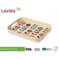 Food grade Home Professional Use Bamboo fibre Tray Plant Fibre Serving Tray with carrying side handles and decal prints Manufactures