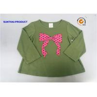 Knot Bow Applique Top Long Sleeve Crew Neck Baby Girl T Shirt Manufactures