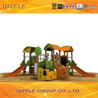 Plastic Wood Outdoor Children Playground Equipment With Climbing Net Manufactures