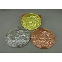 China Zinc Alloy Customized Ribbon Medals , 3D Sports Running Medals With Gold Plating on sale