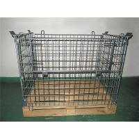 Galvanized Metal Mesh Containers Foldable Steel Mesh Cage With Wood Pallet for sale