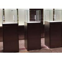 Simple Modern Matte Black Painting Glass Display Case Plinth Size 450X450X1350MM Manufactures