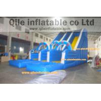 double wave slide inflatable wet & dry slide with pool,pool can removed ,double
