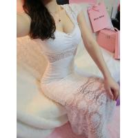 Girls Thin Diamond Lace Ball Gown Wedding dress with one shoulder for fall Manufactures
