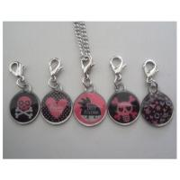 Epoxy resin skeleton charms keychains, poly resin skull bones pendants with lobster clip Manufactures