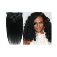 Natural Balck Grade 7A Virgin Clip In Hair Extensions , Straight Human Hair Weaving Manufactures