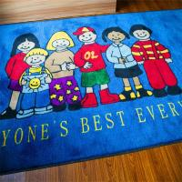 Machine washable fireproof nylon education cartoon mat Manufactures