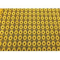 China Yellow Round Pattern Designer Nylon Lace Fabric For Fashion Apparel on sale