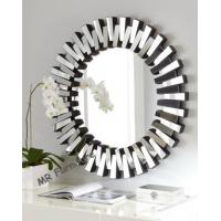 China Round Modern 3D Wall Mirror For Living Room Silver / Gold Trimming on sale
