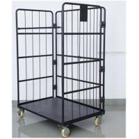 Black Electro Galvanized Wire Utility Cart For Factory Auto Parts Manufactures