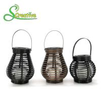 Hanging Amorphous Silicon Solar Led Rattan Lantern , Round Rattan Candle Table Lanterns Manufactures