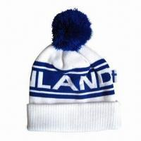 Pom Beanie with Logo by Woven Label, Made of Acrylic Material Manufactures