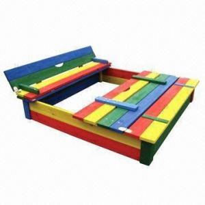 Rainbow Water-resistant Fir Wood Sandbox, Measures 110 x 110 x 22cm Manufactures