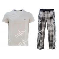 Comfortable Mens Luxury Sleepwear Jersey Shirt Short Sleeve And Woven Yarn Dyed Check Long Pants Australian Design Manufactures