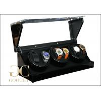 China Leather Automatic Triple Watch Winder Box With Acrylic Lid Suede Interior on sale