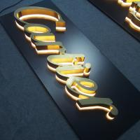 Illuminated Channel Letter Signs Halo-lit Gold Polish 3D Letter Manufactures