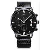 Mens Quartz Watch Man Watches Black Stainless Steel Band Chrono Watch waterproof Manufactures