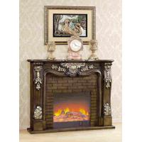 Lightness Adjustable Antique Freestanding Solid Wooden Fireplace With Fake Flame Manufactures