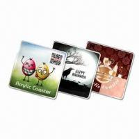 9cm Rectangular Coasters, Made of 3mm Thick Acrylic with CMYK Logo and Visual Manufactures