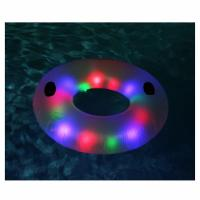 LED Swimming Ring Floating Rafts Inflatable Illuminated Deluxe Tube For Adults Manufactures