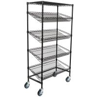 China Supermarket 5 Tier Slanted Wire Shelving / Black Wire Shelf Unit 18 D X 36 W on sale