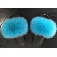 Indoor Outdoor Real Fox Fur Slippers 35-44 Size With Slides Platform OEM Manufactures