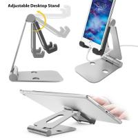 China Multi-angle Folding Portable Silver Black Aluminum Tablet Stand For Smartphone / iPad With A Silicone Anti-slip Cover on sale