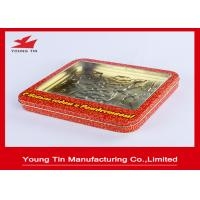 Christmas Red Candy Gift Tin Containers With Clear PVC Or PET Window YT1155 Manufactures