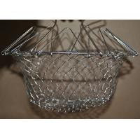 Collapsible Deep Fryer Stainless Steel Mesh Basket , Wire Mesh Fry Basket Manufactures