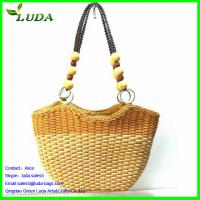 Contrast Color Wheat Straw Clutch Bags w/Beads Handles Manufactures