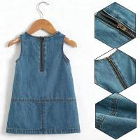 China Summer Casual Baby Girl Denim Dress No Sleeves With Embroidery Sequin Patch on sale