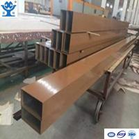 Brown powder coated rectangle extruded aluminum square tube profile for decoration Manufactures