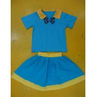 Royal Blue And Mustard Children'S Cotton Pajamas Home Playwear Brother Sister 2pc Sets Manufactures