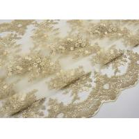 Golden Corded Floral Embroidered Tulle Fabric Scalloped Edge For Wedding Dresses Manufactures