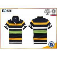 200 Grams 100% Cotton Stripes Print Style Customized Embroidered Polo Shirts For Mens Manufactures