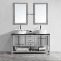 China Antique Wooden Marble Top Bathroom Vanity Mirror Cabinet With Glass Door on sale