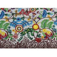 Multi Colored French 3D Floral Embroidered Lace Fabric / Netting Fabric For Girls Dress Manufactures