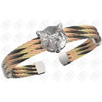 China Fashionable Leopard Head Stainless Steel Bracelets , Multi Tone Steel Cable Bracelets on sale