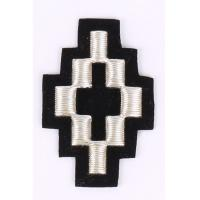 China Silver Machine Embroidered Badges / Cross Pattern Sew On Patches For Clothes on sale